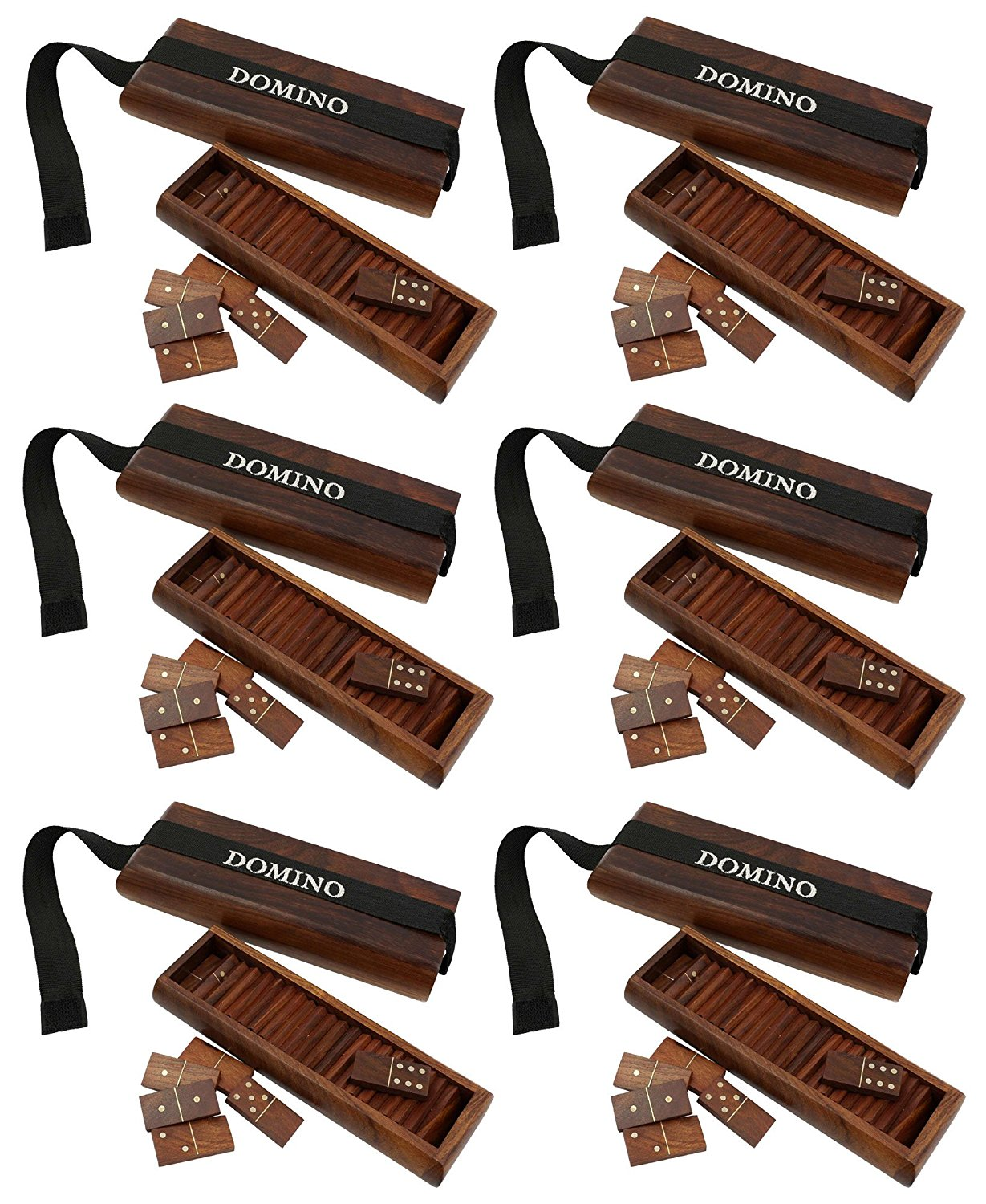 """Lot of 6 - Christmas Games for Adults Indian Wooden Domino Tile Game Tray - Complete Game Set - Travel Domino Set Double - 7"""" x 3"""" x 1.5"""""""
