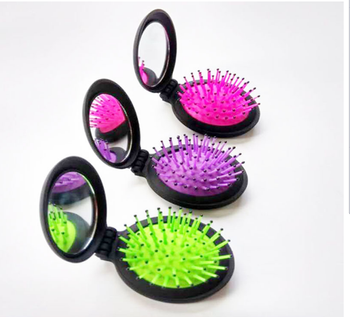 Promotional New travel mini pocket round foldable hair brush with mirror