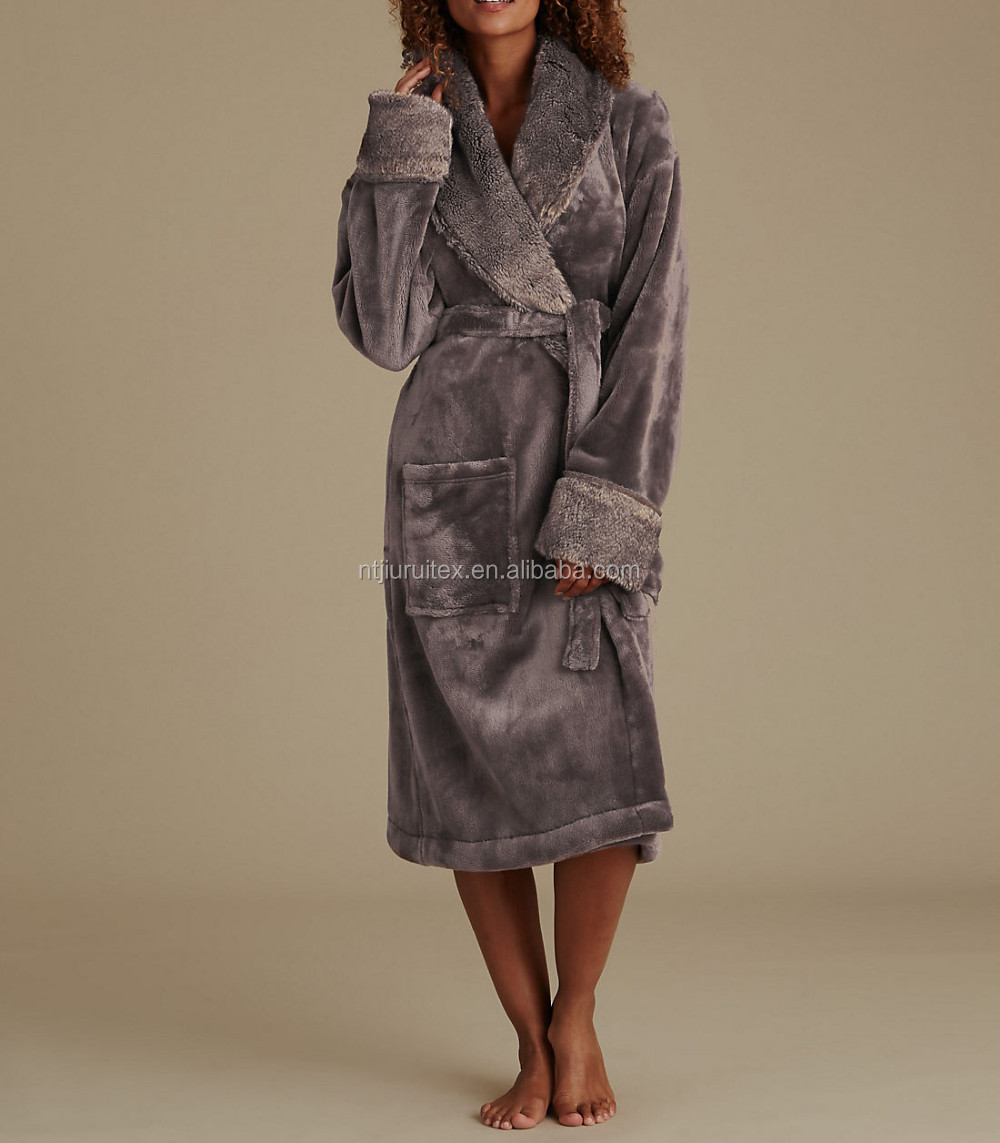Womens Faux Fur Trim Dressing Gown Buy Womens Plush Fleece Robe