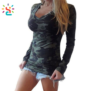 New arrive Spring Casual Women Camo Long Sleeve T Shirt Printing Military Camouflage font