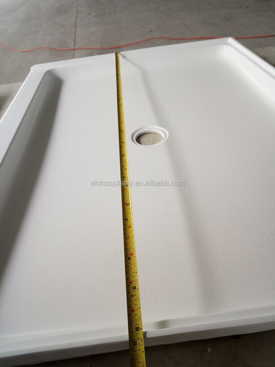 "48""x36""x3'' Center Drain Cultured Marble Shower Pans Hotel Bathroom Shower Pans"
