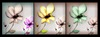 Goup abstract flower canvas painting 3 panel
