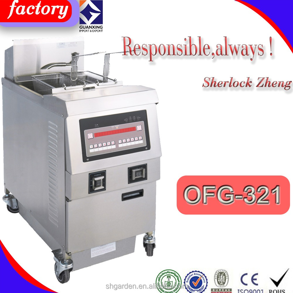 industrial food french fries frying Electric commercial double tank gas open fryer/kfc deep fryer/open fryer with oil filter