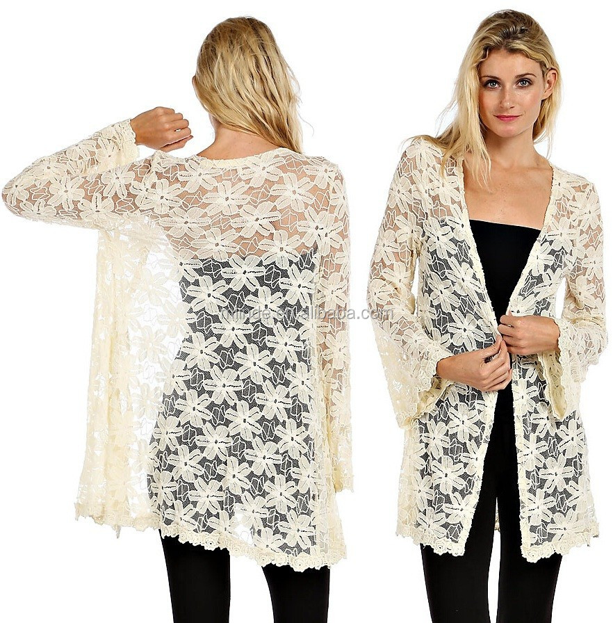 1798ea3cb67c Longline Floral Crochet Lace Cardigan New Design Fashion Cardigan ...