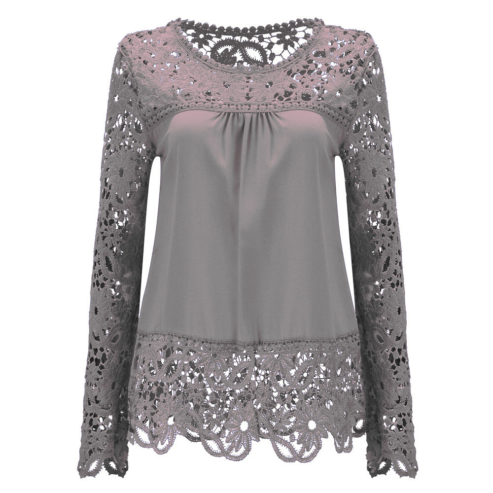 Blouses Ladies New Fashion Women Sheer Sleeve Embroidery Top Blouse Lace Crochet Chiffon Shirt Unique Blouses For Women