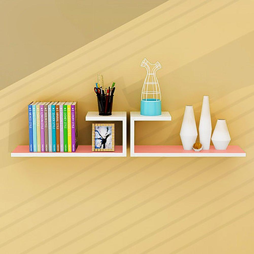 KLWJ Floating shelves, Wall shelf wood shelves set corner shelf unit storage shelving bookshelf creative solid color wall shelf-G