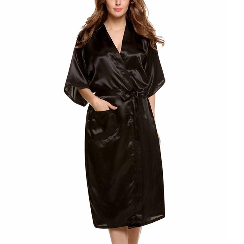 Get Quotations · Amurleopard Women s Kimono Robe Bridal Lingerie Sleepwear  Long Satin Robe Black XL 9c008319c