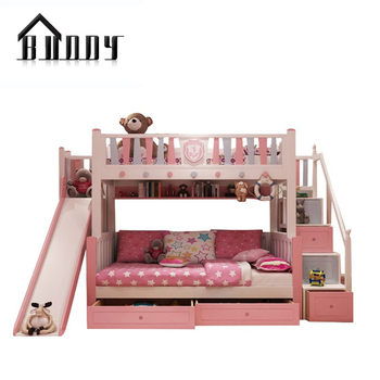 Twin Size Loft Kids Wooden Children Princess Bunk Bed With Stairs