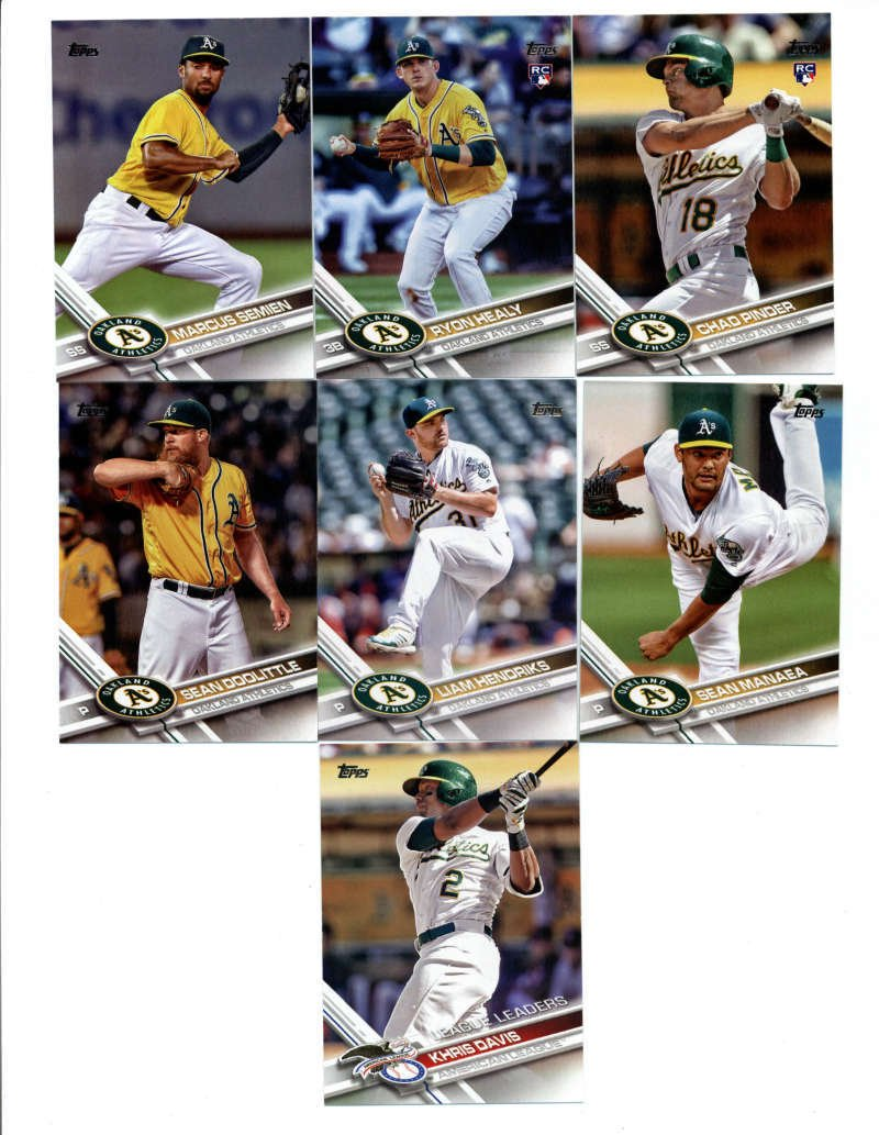 2017 Topps Oakland Athletics Complete Master Team Set of 36 Cards (Series 1, 2, Update) with Jake Smolinski(#11), Ryon Healy(#53), Marcus Semien(#97), Jesse Hahn(#140), Chad Pinder(#146), Sean Doolittle(#157), Sonny Gray(#177), Sean Manaea(#187), Liam Hendriks(#262), Khris Davis(#291), Mark