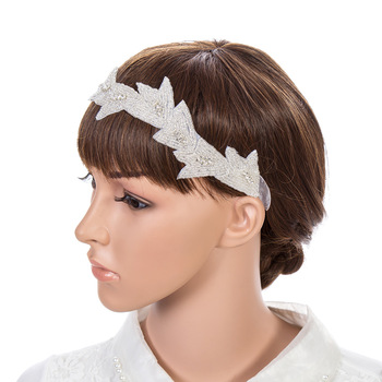Elegant leaf shape rhinestone ribbon head band for wedding bridesmaid head band