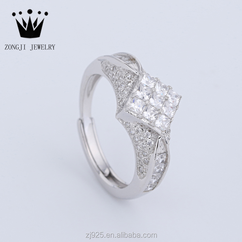 Modern Design 925 Sterling Silver Jewelry White Gold Rings For Women Daily Wear