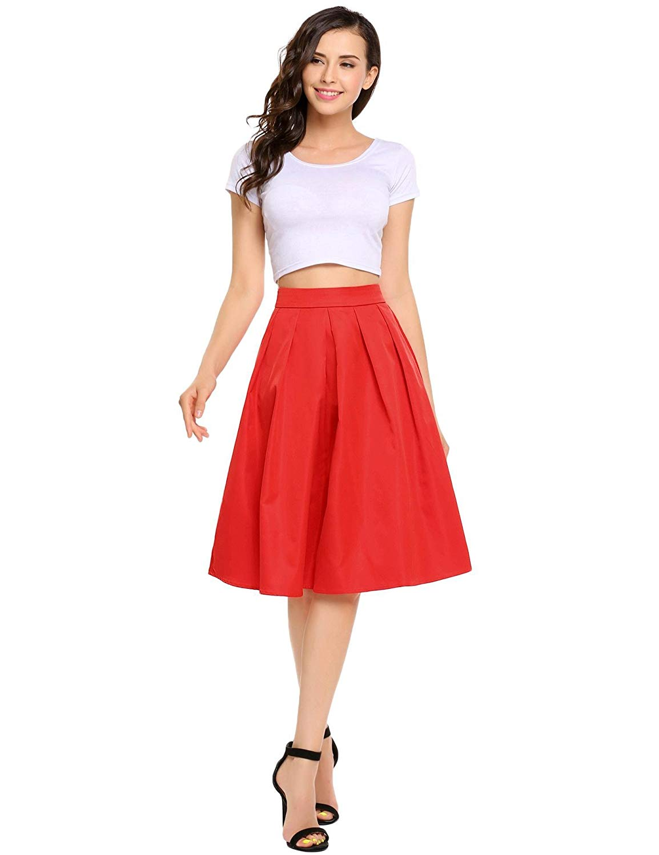 6ad52662106011 Get Quotations · Shine Women's High Waisted A line Street Skirt Skater  Pleated Full Midi Skirt