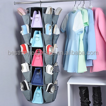 360 Degree Hanging 5 tier Cationic Fabric Shoe Bag Organizer,(Gray)