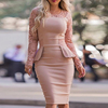 Lace Splicing Peplum Bodycon Dress