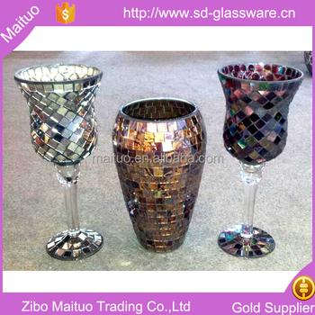 Broken Glass Mirror Mosaic Flowers Vase Wholesale For Home