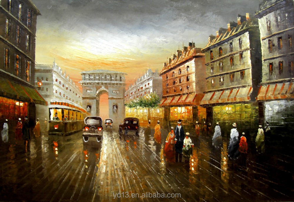 canvas with framed paris street hand painted images oil painting
