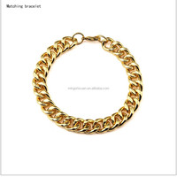Jewelry Gold Rolo chain bracelet wholesale, New stainless steel hip hop jewelry 18k gold piece chunky chain bracelet for man