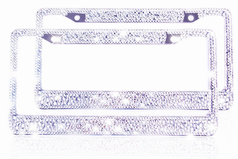 Buy Bling License Plate Frame for Women Girl 2 Pack,Crystal Tag ...