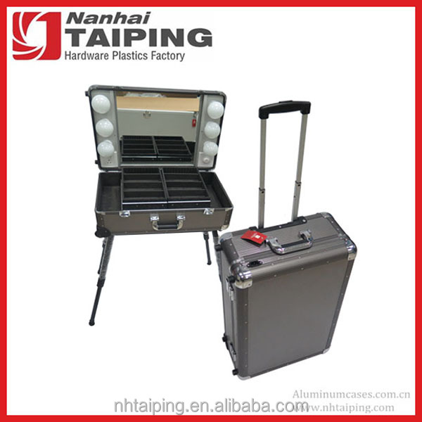 Metal Gray Aluminum Case With Legs Professional Makeup Case With Lights