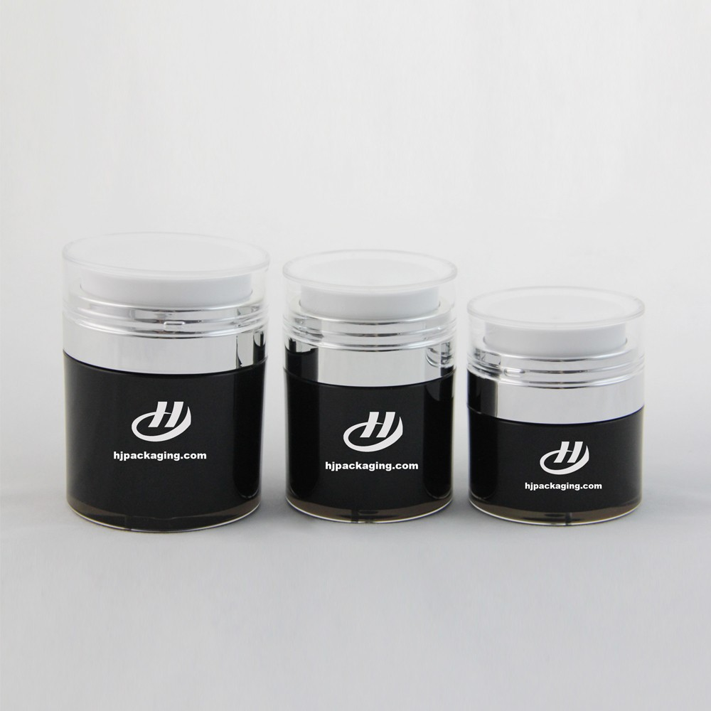 Elegant fabulous high quality beautiful round drum shape luxury acrylic cosmetics packaging plastic bottle and jar