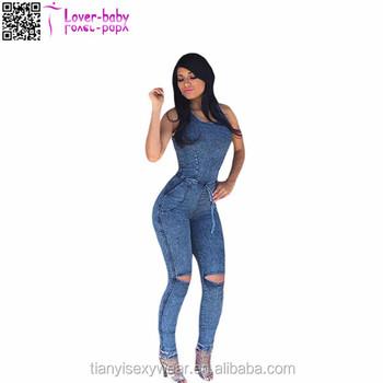 edb47ee1baf4 Sexy Lace Up Ladies Club Wear New Jeansskin Tight Jumpsuit - Buy ...