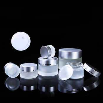 30ml 50ml 100ml white frosted glass cosmetic Jar 30g 50g 100g cream container with silver lid
