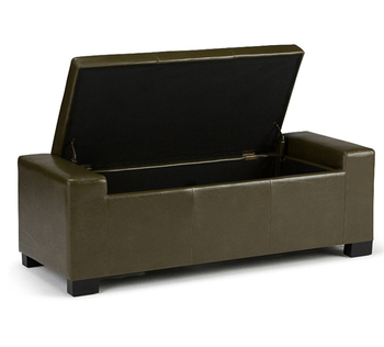 Rectangular Storage Ottoman Bench Easy Lift Top Lid Wood Construction PU  Leather Long Storage Bench Stool
