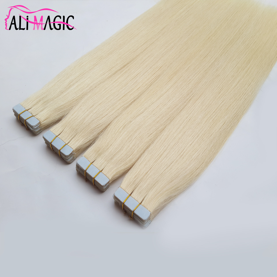 7A High Quality Wholesale Blonde Juancheng Factory Trade Assurance No Shedding Tape Hair Extensions Top Of Head