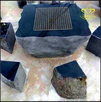Stone granite square table chairs rooms outdoor furniture