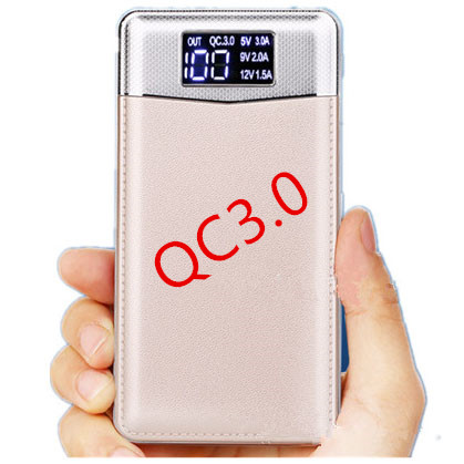Wholesale new Type-C Quick charge 3.0 Leather mi powerbank portable power bank 2017 High capacity 10000mah charger ScreenDisplay