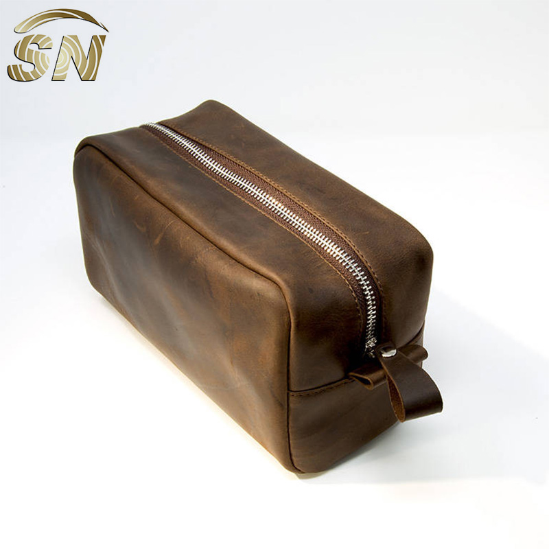 Customized Travel Kit For Men Cosmetic Bag Mens Toiletry Leather