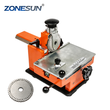 ZONESUN Dog tag embossing machine engraving machine for metal plates label engrave tool