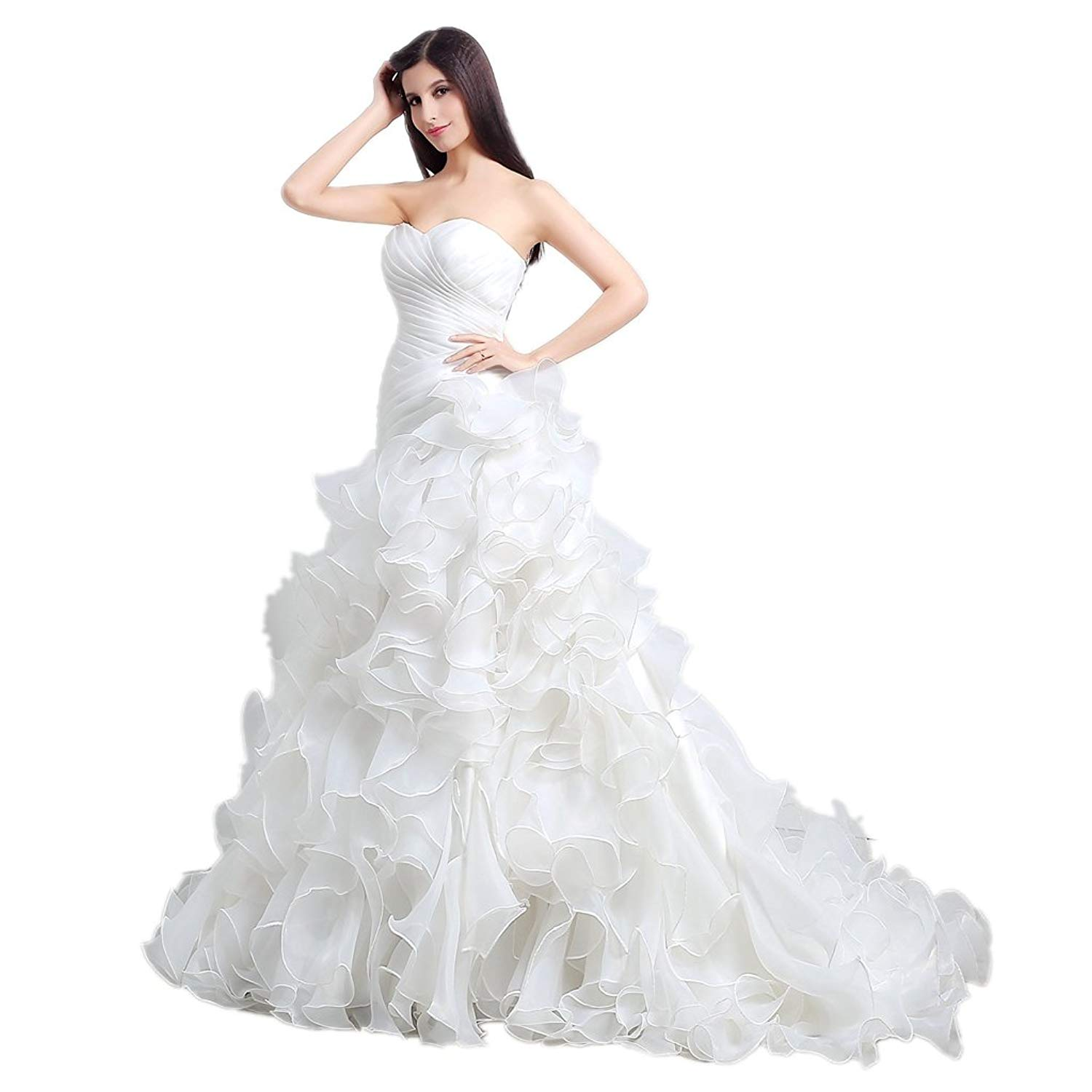 MLT Women's Organza White Ivory Layers Wedding Dresses Bridal Gown