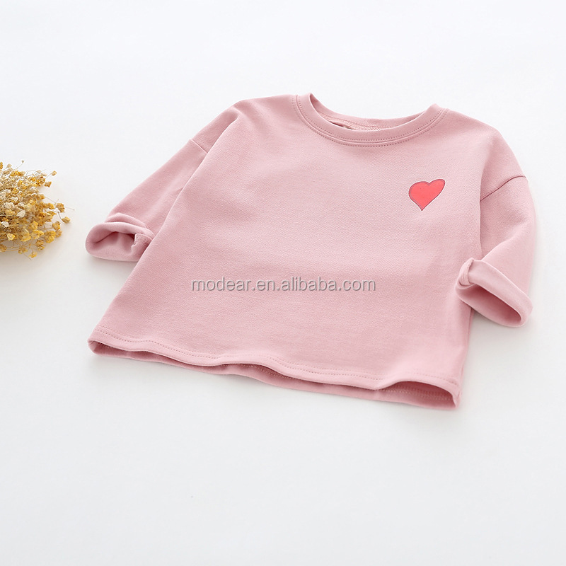 Wholesale kids solid color heart pattern cotton clothing long sleeve baby bottom clothes infant t-shirt