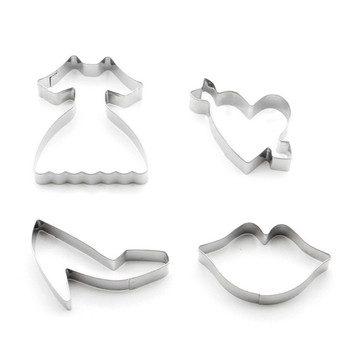 Amazon top sale 4pcs stainless steel princess theme cookie mold