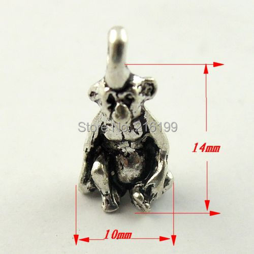 Antique style silver tone alloy monkey pendant charms 50pcs 09908
