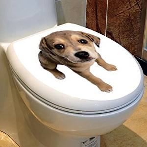 Get Quotations · PVC Waterproof Cartoon Dog Toilet Seat Sticker Bathroom  Closestool Decals