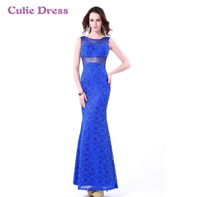 2e918163b Vestido azul rey de encaje largo - Vestidos formales