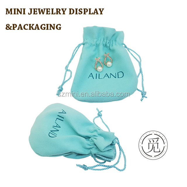 Baby blue high quality popular suede fabric velvet jewellery pouch for gift jewelry