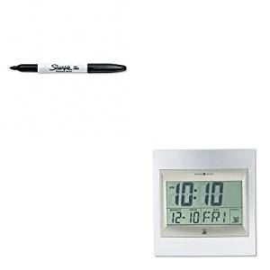 KITMIL625236SAN30001 - Value Kit - Howard Miller TechTime II Radio-Controlled LCD Wall/Table Alarm Clock (MIL625236) and Sharpie Permanent Marker (SAN30001)