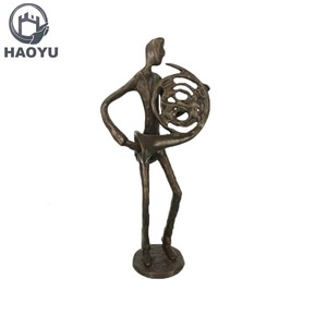 Indoor small metal art decorative antique bronze cast iron musical figurines