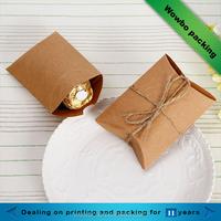 Cheap pillow shape brown kraft paper wedding 2 pieces chocolates packaging box