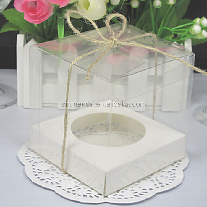 OEM ODM square PVC PET fancy wedding favors candy gift plastic box packaging