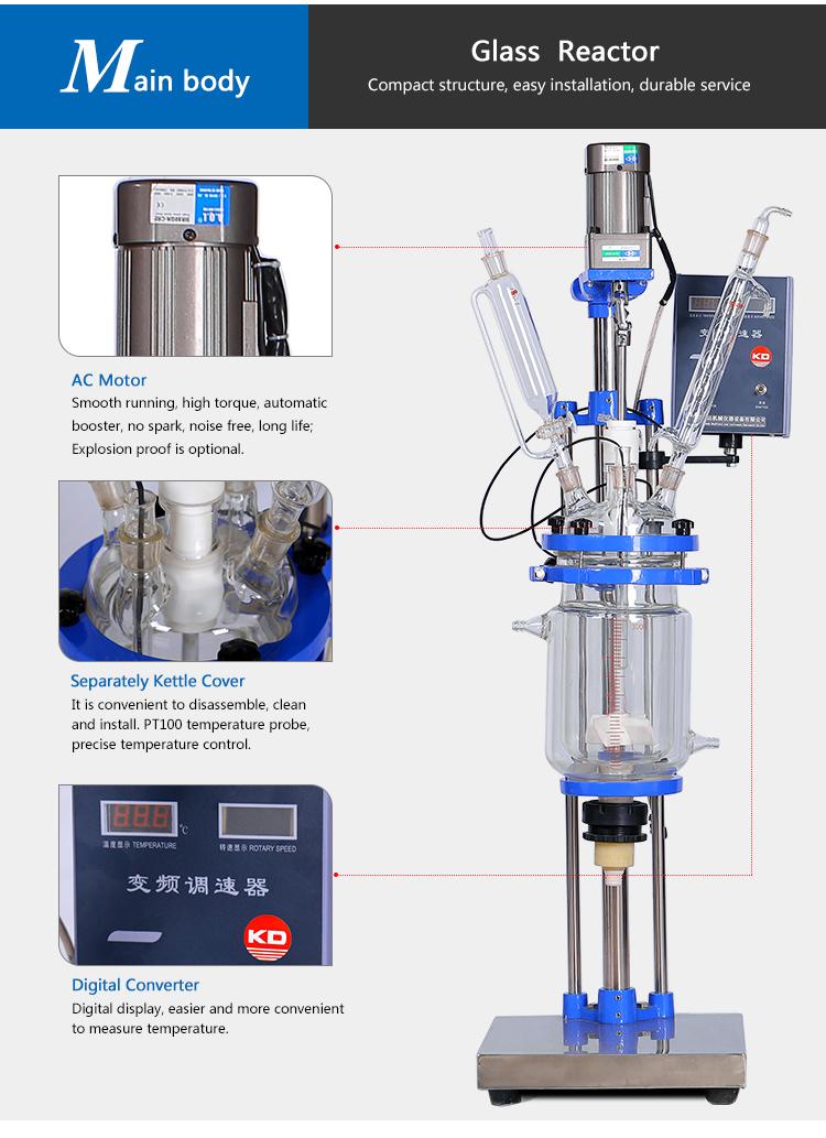 GG17 Glass Reaction Stirred Jacket Heating 2L Lab Reactor