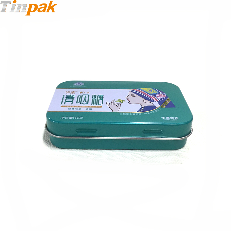 small rectangular metal pill box with hinge