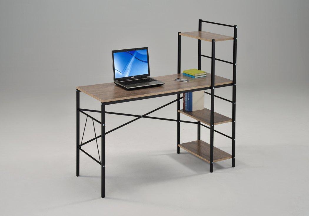 Reclaimed Dark Sonoma Oak Wood Finish Black Metal Computer Desk PC Laptop Table Workstation Home Office with 4-tier Shelves