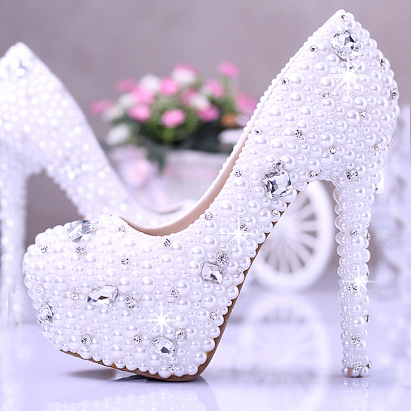Honeymoon Shoes Imitation Pearl Wedding Dress Shoes Gorgeous Bridal Shoes 14cm Super High <strong>Heels</strong>