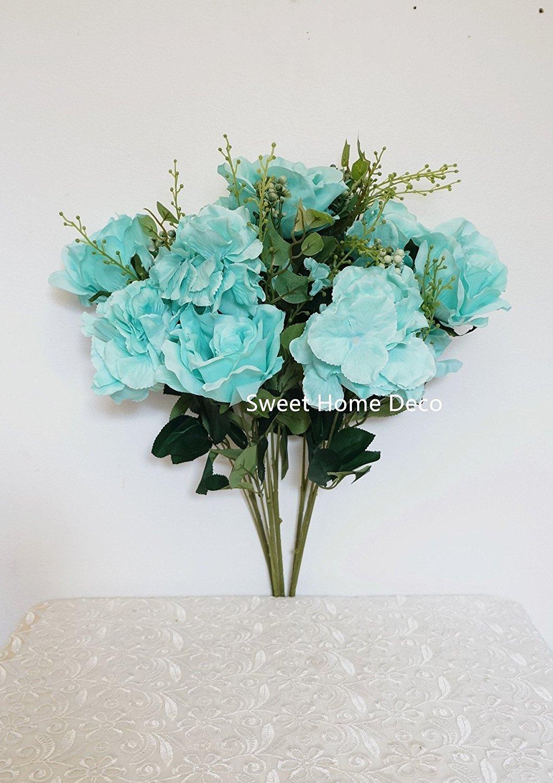 Buy sweet home deco 21 silk rose hydrangea artificial flower sweet home deco 21 silk rose hydrangea artificial flower bouquet for weddinghome izmirmasajfo
