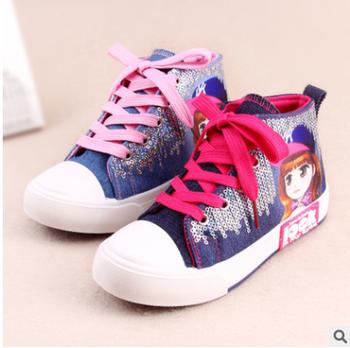 Cartoon Bling Kids School Teenage Girl Princess Canvas Shoes - Buy ... 297d94faa191
