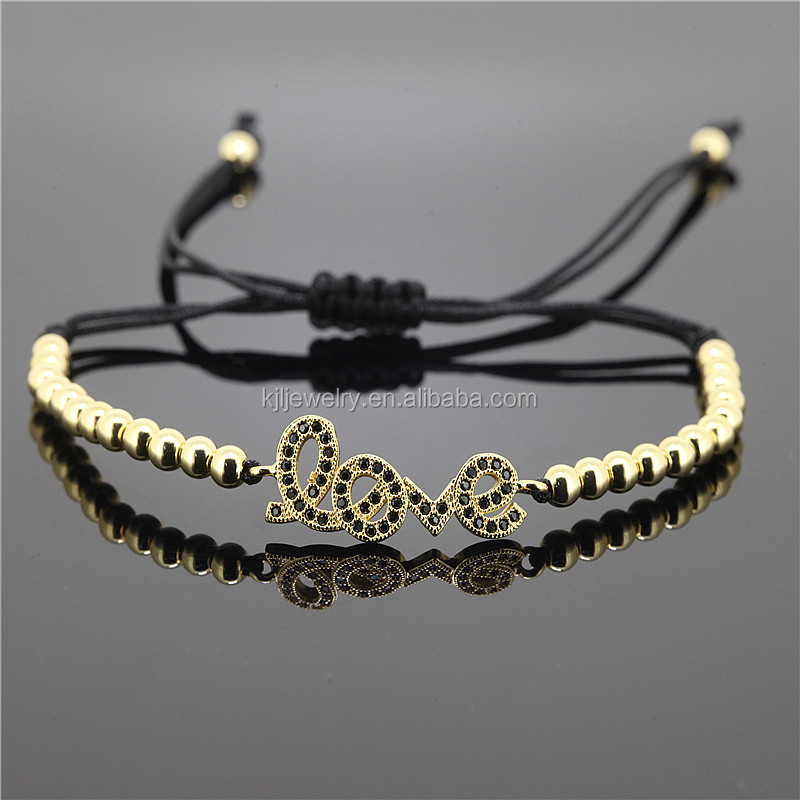 Anil Arjandas Rose Gold 4mm Stainless Steel Round Beads Woven Micro love Black CZ Bracelets Bangles